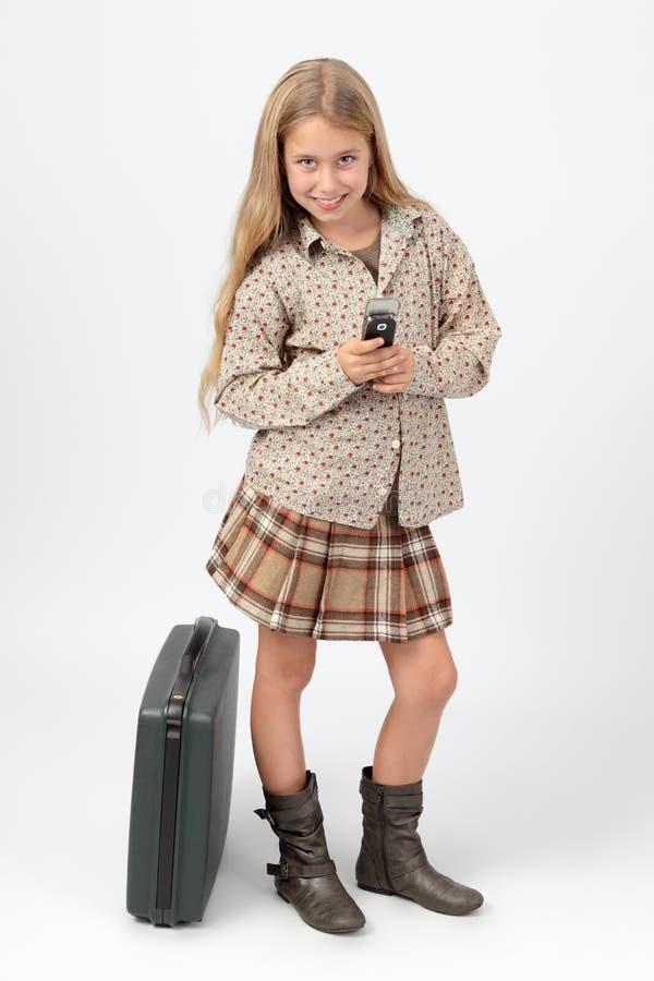 bizneswomanu texting mały obraz stock