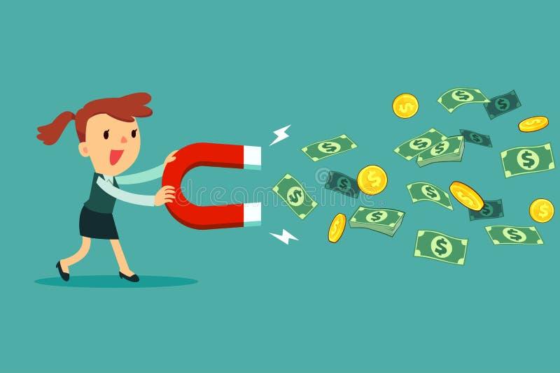 Bizneswomanu use wielki magnes przyciągać pieniądze royalty ilustracja