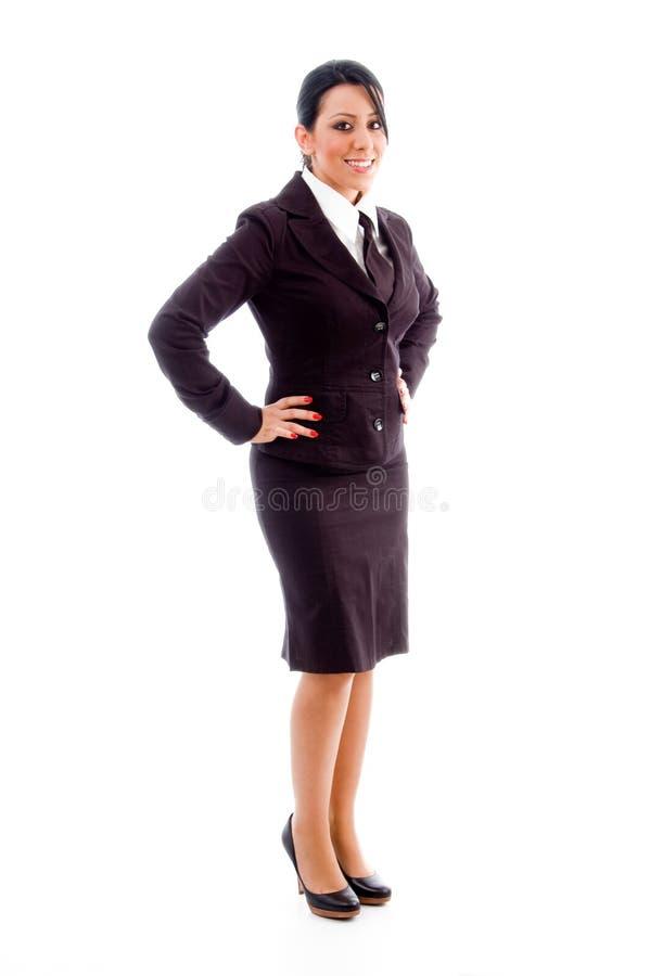 bizneswomanu widoku boczni uśmiechnięci potomstwa zdjęcie royalty free
