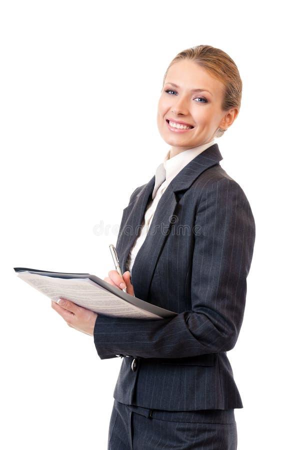 bizneswomanu writing obrazy stock