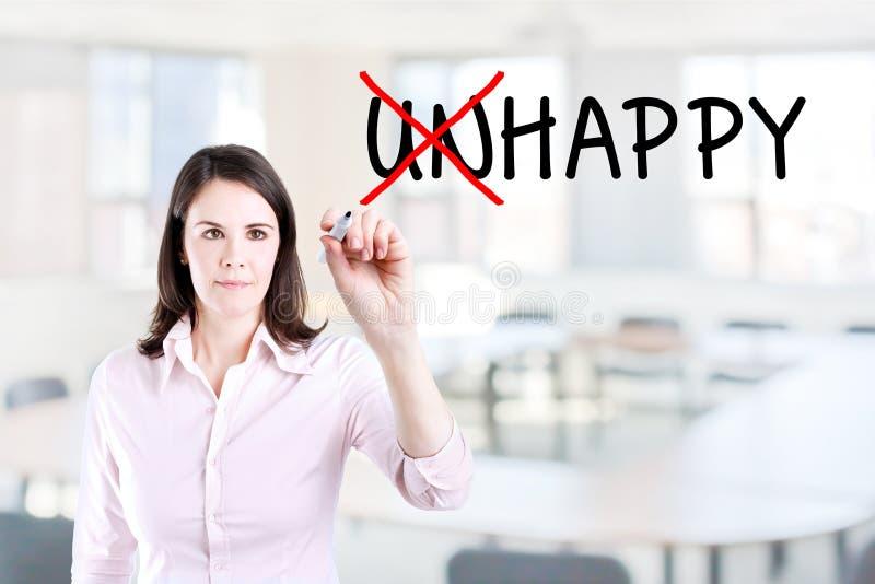 Bizneswomanu wybierać Szczęśliwy zamiast Nieszczęśliwego Biurowy tło obrazy stock