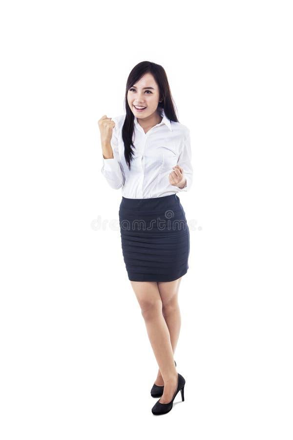 Bizneswomanu wygranie odizolowywający na bielu zdjęcia royalty free