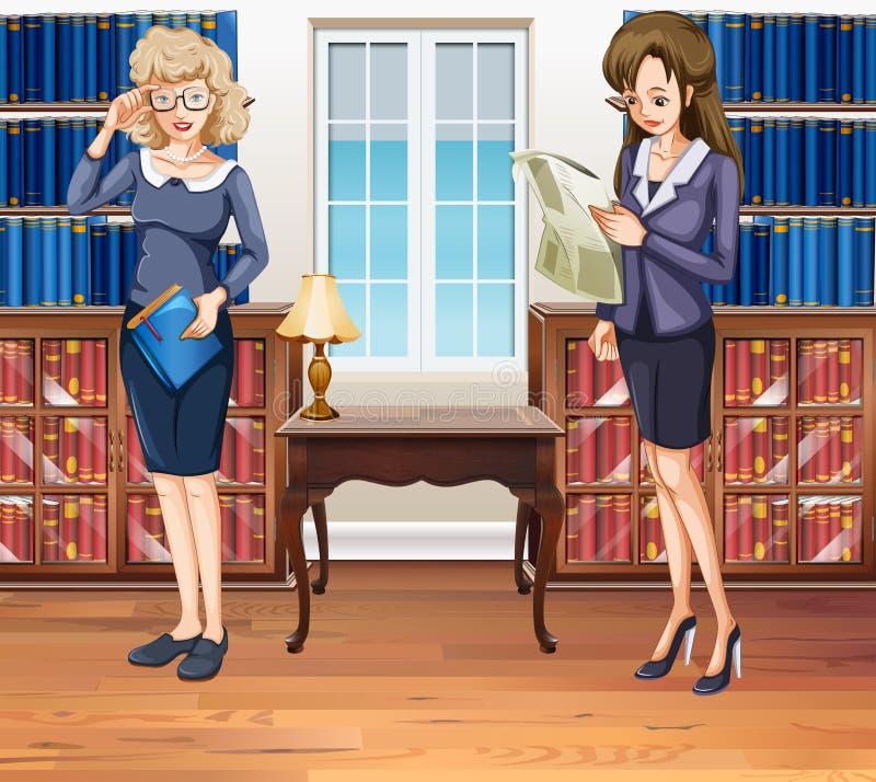 Bizneswomany czyta papiery w pokoju royalty ilustracja