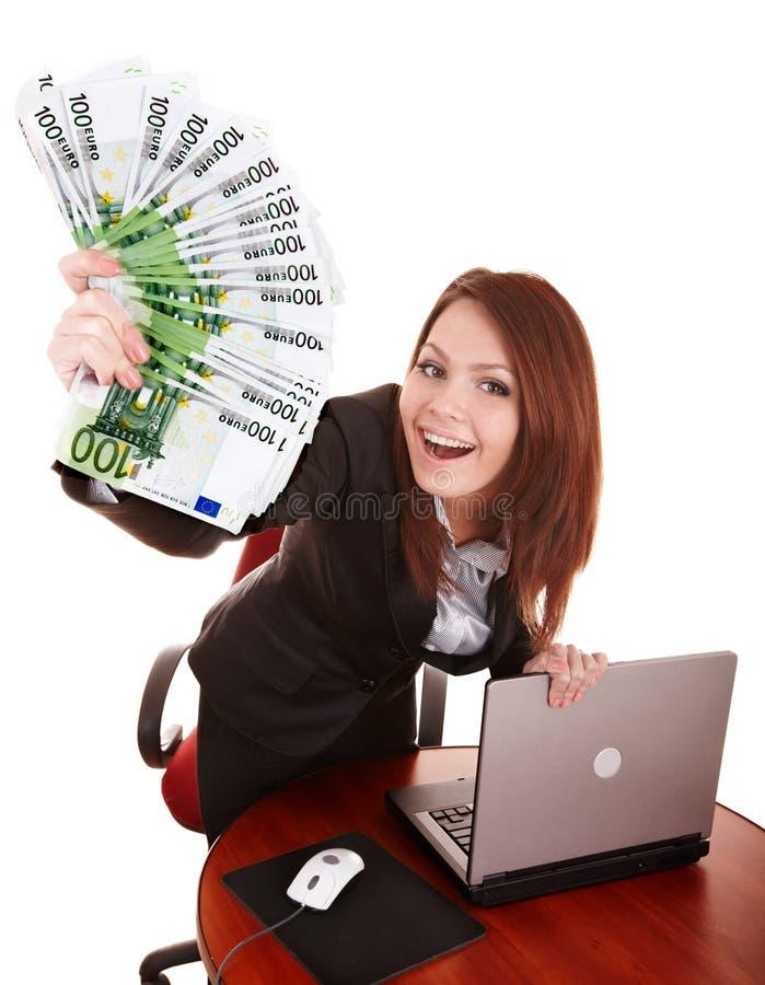bizneswomany grupują laptopu pieniądze obraz royalty free