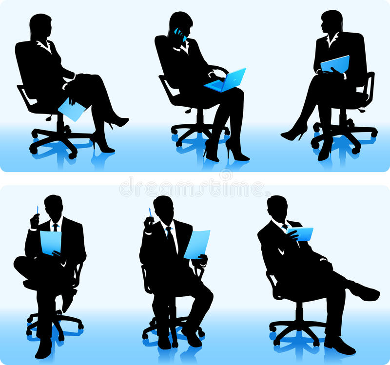 Bizneswomany i biznesmen sylwetki ilustracji