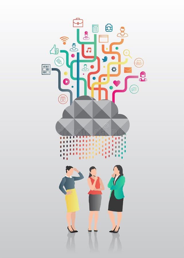 Bizneswomany stoi pod app chmurą ilustracja wektor