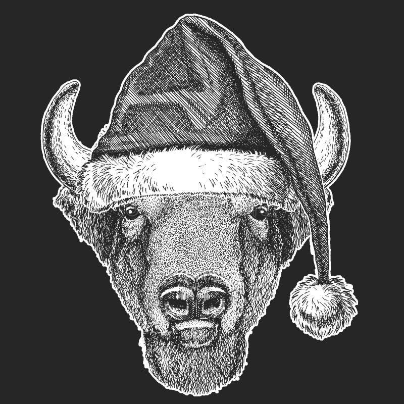 Bizon, żubr, wół, byków boże narodzenia, nowego roku świętowanie Święty Mikołaj zimy kapelusz Xmas pióropusz ilustracji