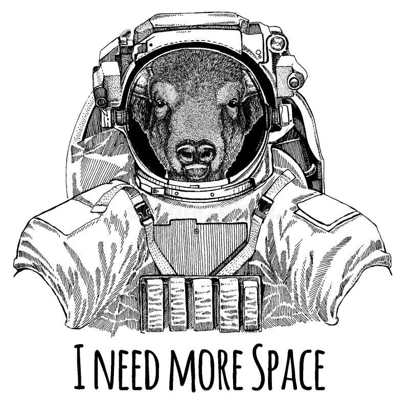 Bizon, żubr, wół, byka astronauta Astronautyczny kostium Wręcza patroszonego wizerunek lew dla tatuażu, koszulka, emblemat, odzna ilustracja wektor