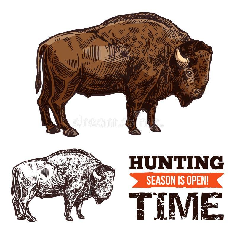 Bizon, buffels, stieren of os wilde dierlijke schets stock illustratie