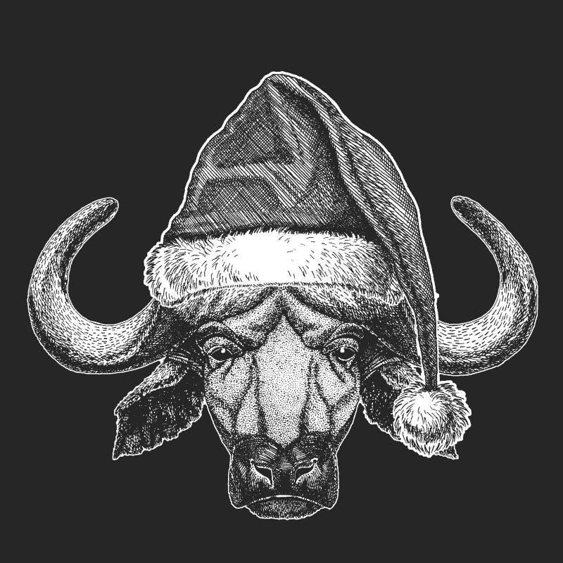 Bizon, byk, wołowi boże narodzenia, nowego roku świętowanie Święty Mikołaj zimy kapelusz Xmas pióropusz royalty ilustracja