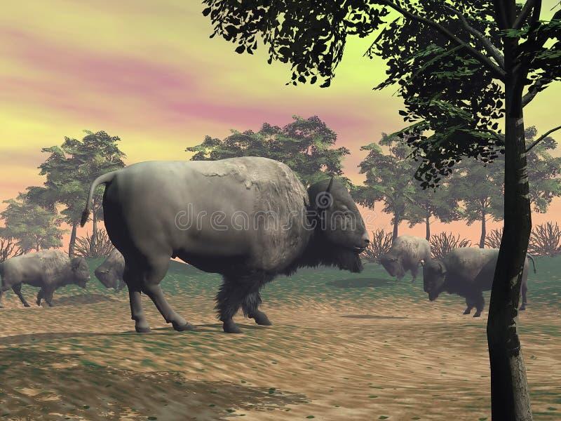 Bizons in de 3D aard - geef terug royalty-vrije illustratie