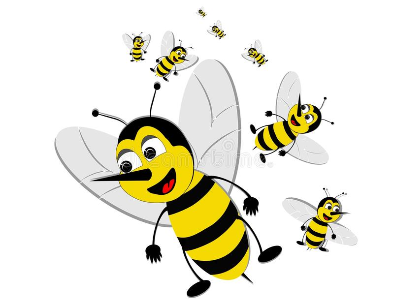 Bizzy swarming bees. Bizzy swarms of bees, looking at their next target stock illustration