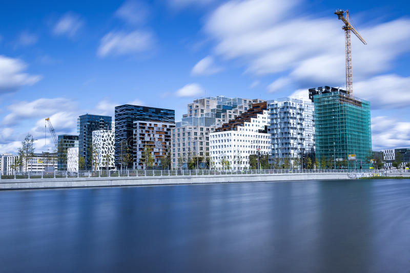 Bjørvika em Oslo Noruega imagens de stock royalty free