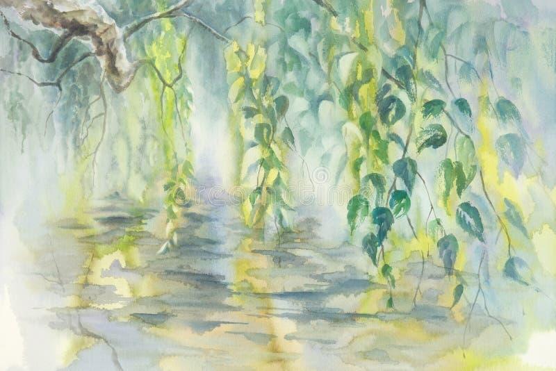 Björken förgrena sig i vårvattenfärgbakgrund stock illustrationer