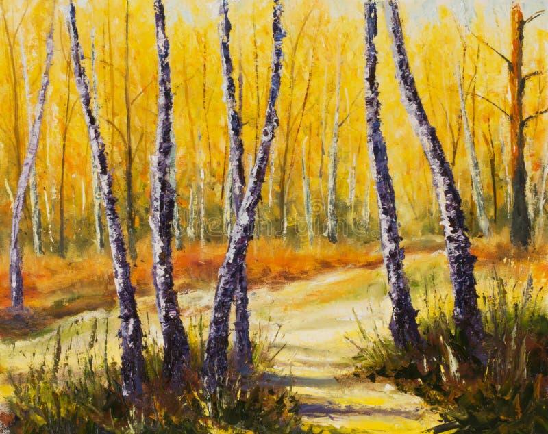 Björkträd i ett soligt konstverk för skogpalettkniv impressionism konst stock illustrationer