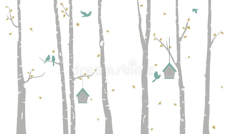 Björkträd med fågelhus- och fågelkonturn royaltyfri illustrationer