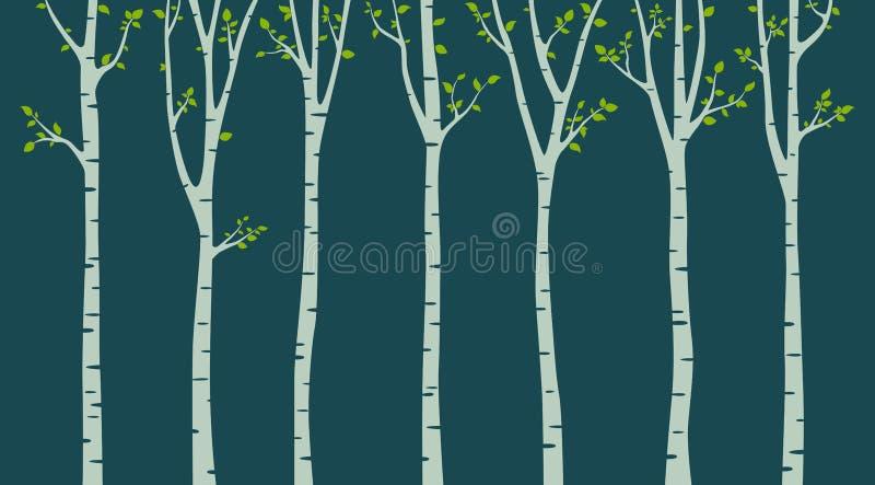 Björkträd med fågelkonturn på grön bakgrund stock illustrationer