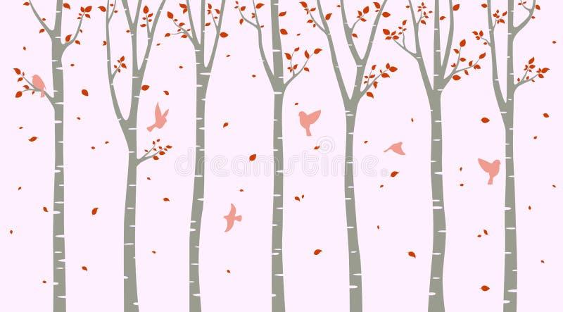 Björkträd med fågelkonturn på rosa bakgrund vektor illustrationer