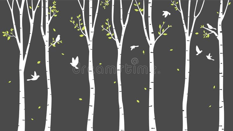 Björkträd med hjort- och fågelkonturbakgrund royaltyfri illustrationer