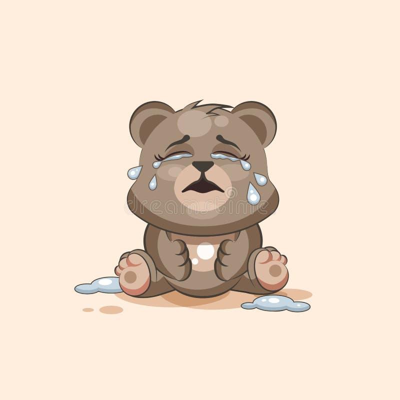 Björn för Emoji teckentecknad film som gråter, lott av revaklistermärkeemoticonen royaltyfri illustrationer