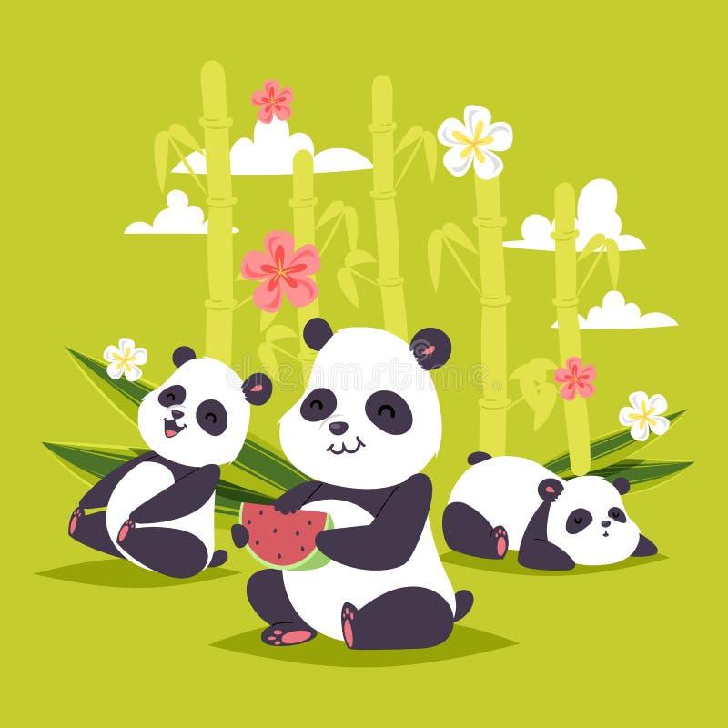 Björn för kines för pandavektorbearcat med bambu som spelar eller sover illustrationbakgrunden av den jätte- pandan som äter vatt royaltyfri illustrationer