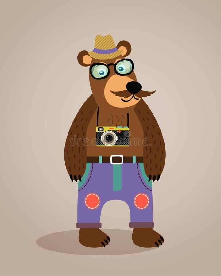 Björn för nalle för Hipstergeek djur royaltyfri illustrationer