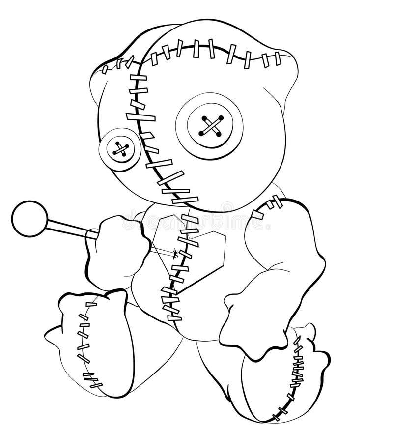 Björn för voodoo för allhelgonaaftonfasaandlighet kelig, docka som punkteras av ben/trängt igenom hänga på galgen Översikter kont royaltyfri illustrationer