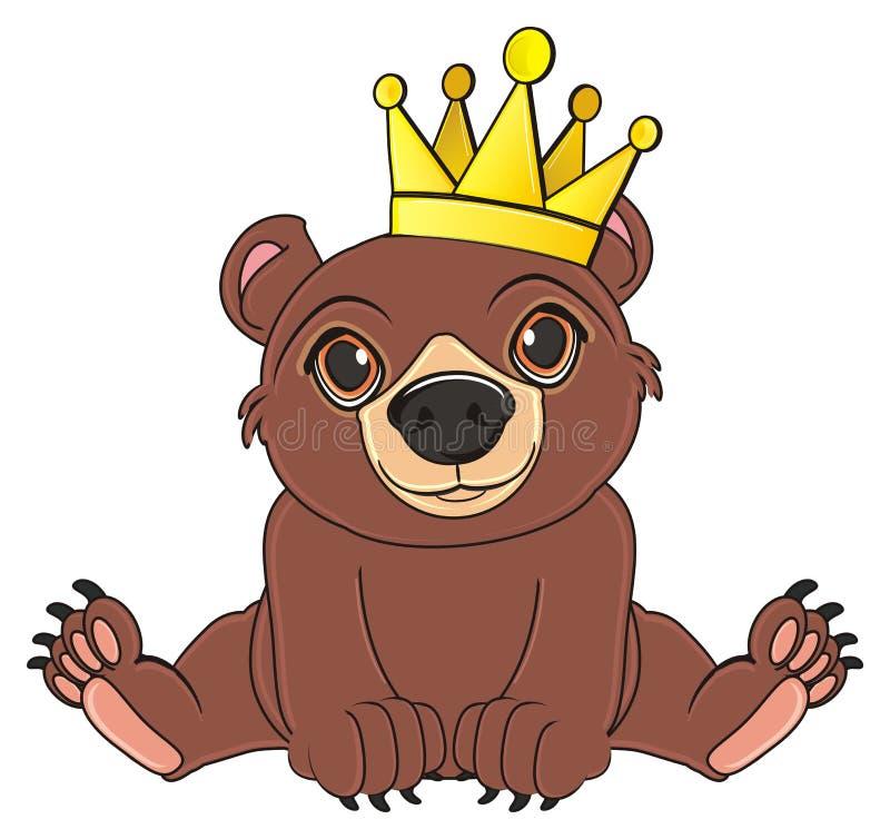 Björn i krona royaltyfri illustrationer
