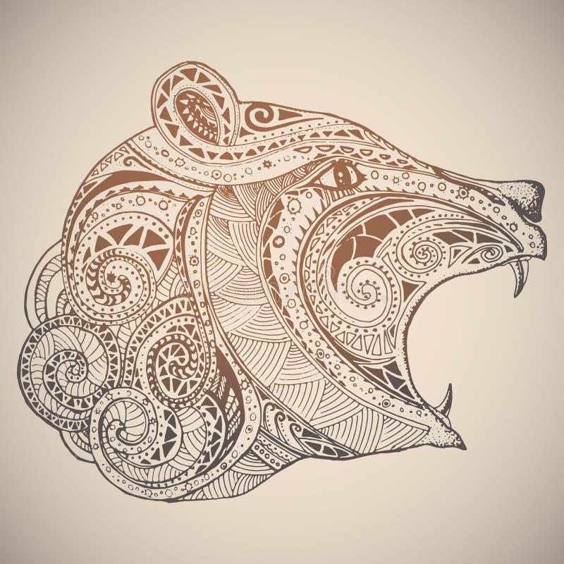 Björn i orientalisk stam- prydnad royaltyfri illustrationer