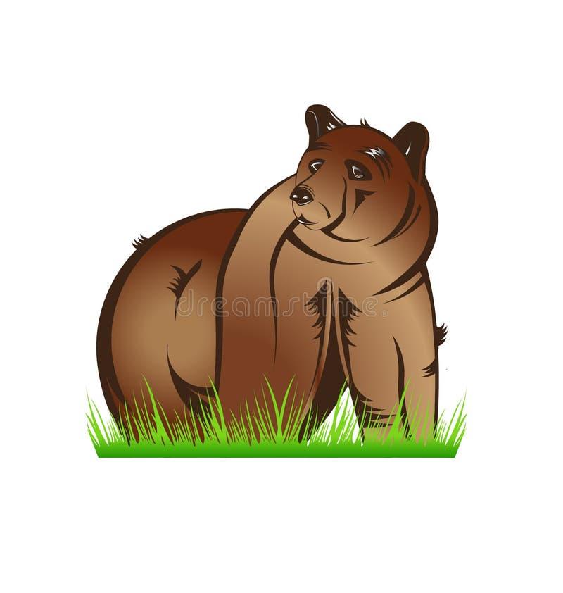 Björn i prärie royaltyfri illustrationer