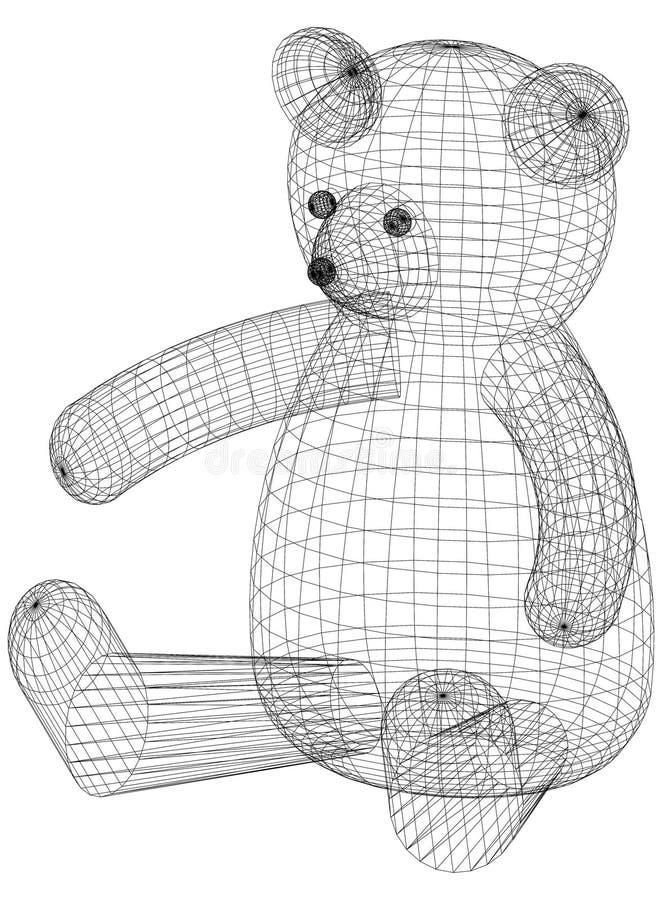 Björn isolerade Toy Architect Blueprint - royaltyfri illustrationer