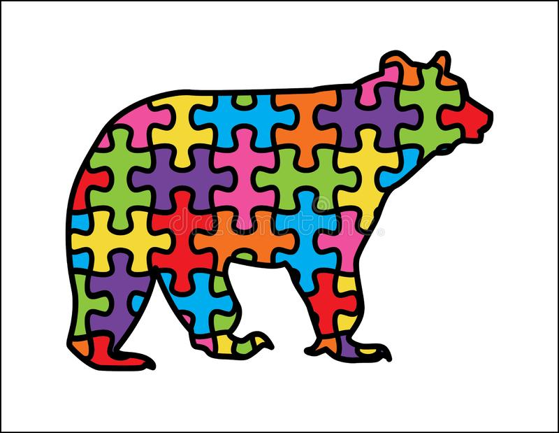 Björn med autismpusselstycken stock illustrationer