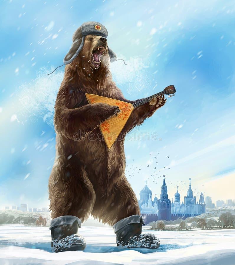 Björn med balalajkan royaltyfri illustrationer