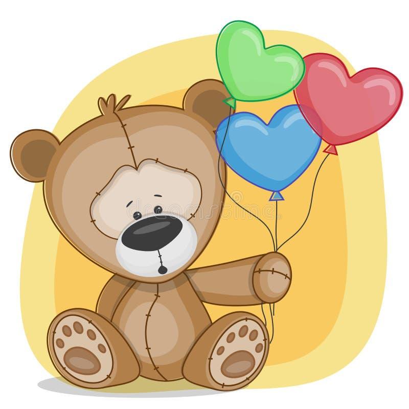 Björn med baloons vektor illustrationer