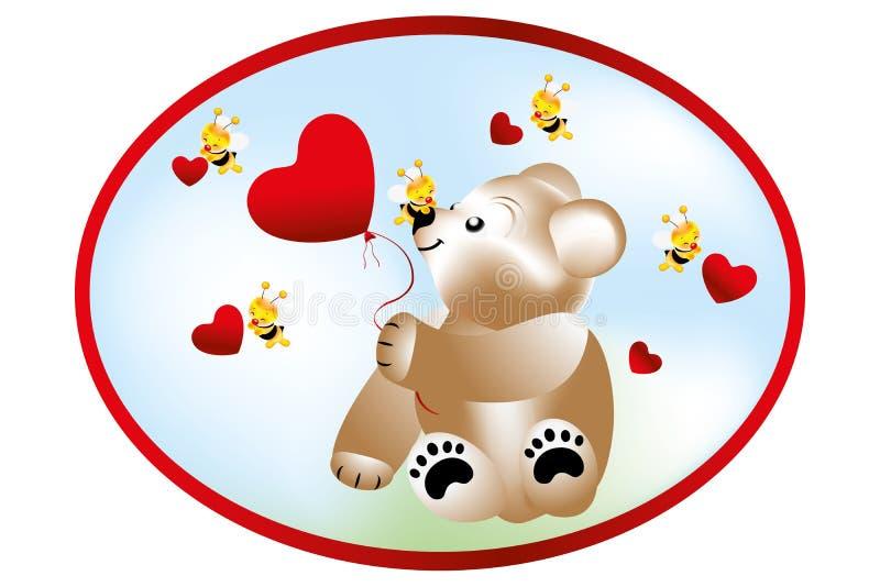 Björn med bin vektor illustrationer