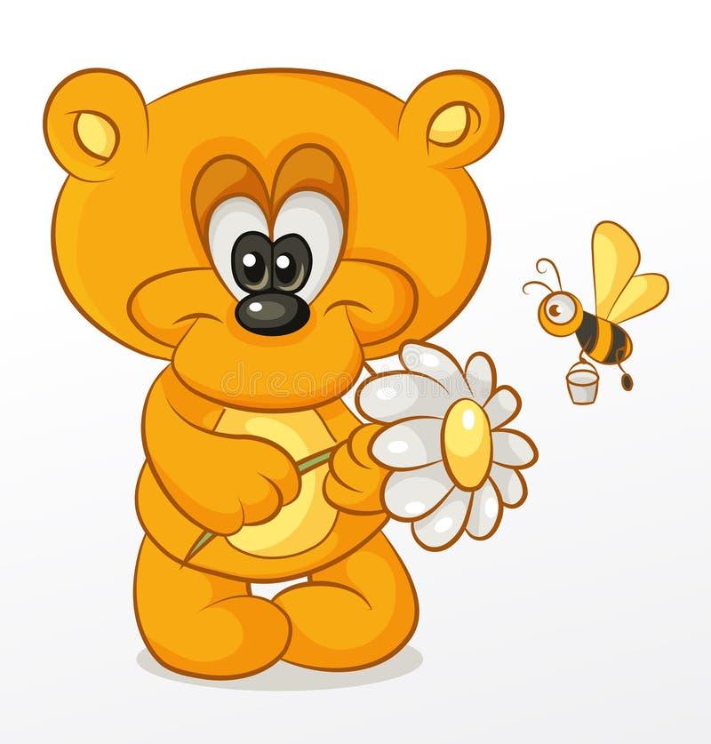 Björn med blomman royaltyfri illustrationer