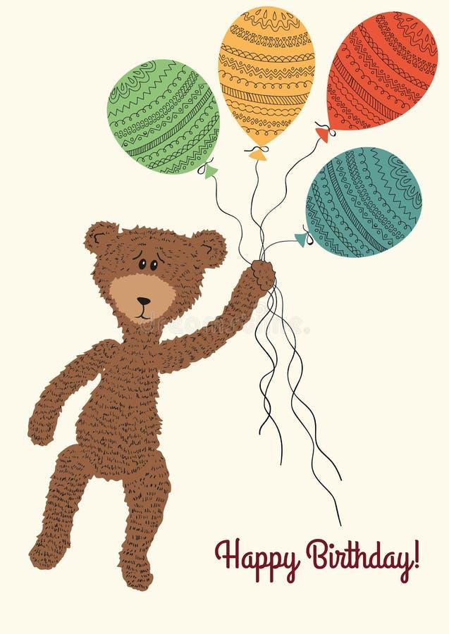 Björn med färgrika ballonger stock illustrationer
