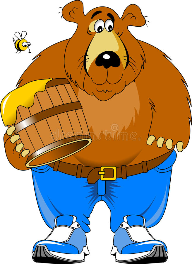 Björn och honung stock illustrationer