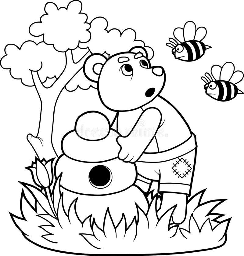 Björn och ilskna bin vektor illustrationer