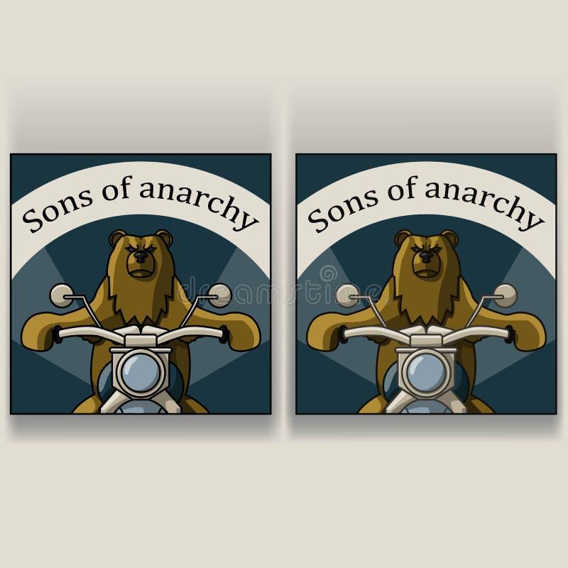 Björn på en motorcykel vektor illustrationer