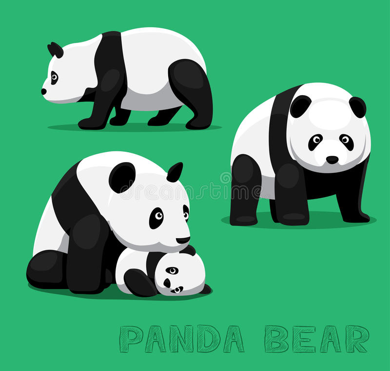 Björn Panda Bear Cartoon Vector Illustration stock illustrationer