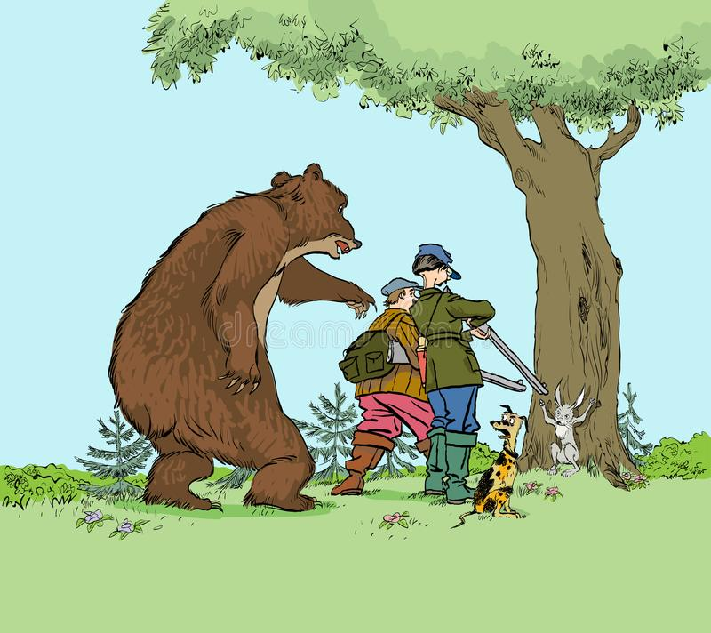 Björn som jagar jägare Rov för jägaretroféjakt av björnen och haren för jaktsäsong royaltyfri illustrationer