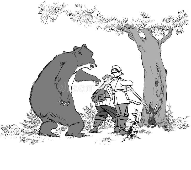 Björn som jagar jägare Rov för jägaretroféjakt av björnen och haren för jaktsäsong vektor illustrationer