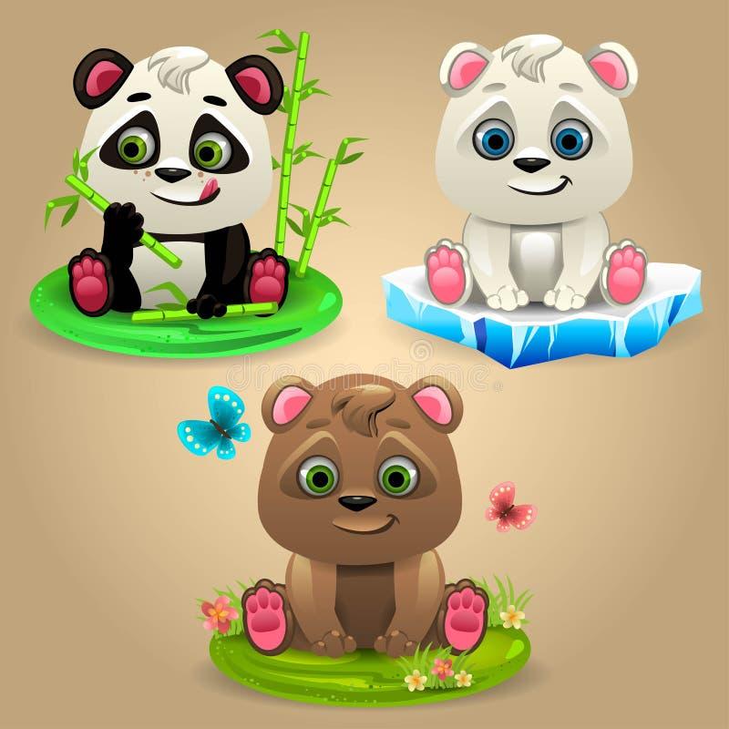 Björnar för tecknad film tre vektor illustrationer