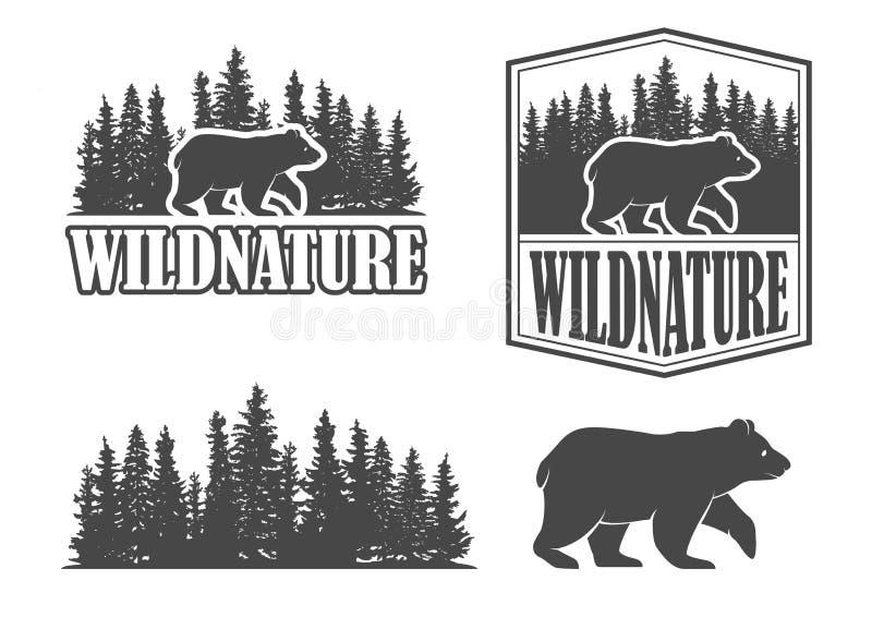 Björnemblem vektor illustrationer