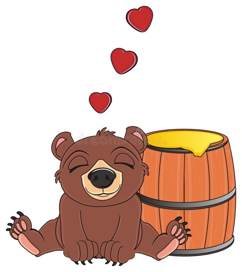 Björnen älskar en honung royaltyfri illustrationer