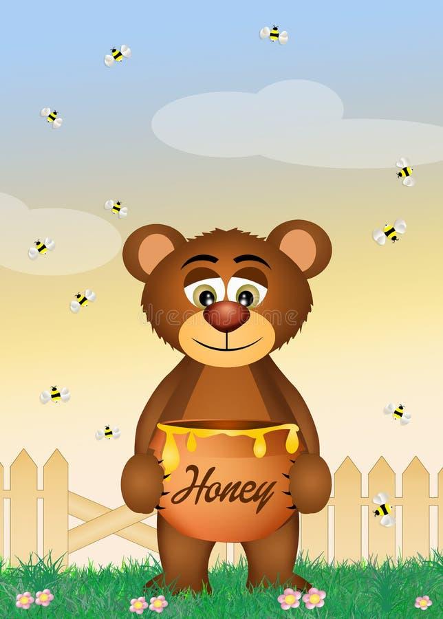 Björnen äter honung vektor illustrationer