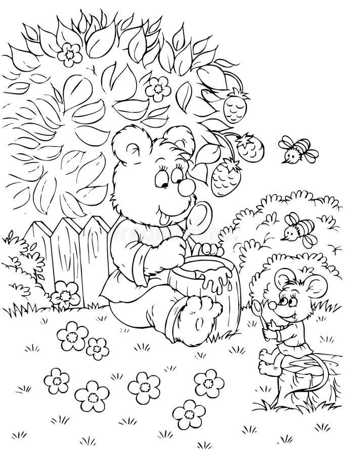 björnen äter honungmusen stock illustrationer