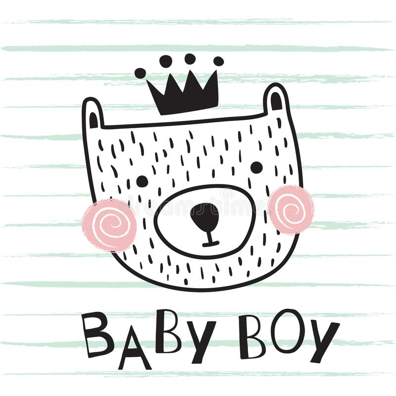 Björnen behandla som ett barn pojken stock illustrationer