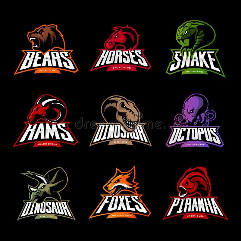 Björnen hästen, ormen, RAM, räven, piranhaen, dinosaurien, bläckfiskhuvud isolerade vektorlogobegrepp vektor illustrationer
